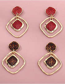 Fashion Red Square Resin Alloy Hollow Earrings