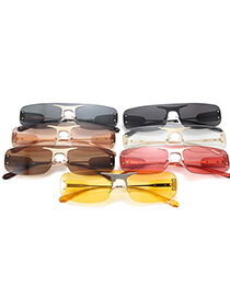 Fashion Silver Frame Yellow Film Frameless One-piece Trimmed Alloy Sunglasses