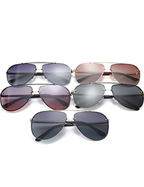 Fashion Silver Frame Upper Gray And Lower Blue Polarized Gradient Alloy Mens Sunglasses