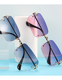 Fashion Gold Frame On Purple And Red Cut-edge Rectangular Cutout Sunglasses