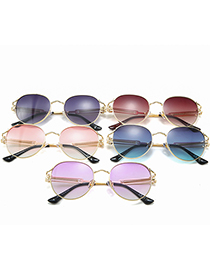 Fashion Gradient Purple Round Gradient Sunglasses With Spring Temples