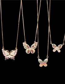 Fashion Color Mixing Is Small Copper Inlaid Zircon Butterfly Pendant Necklace