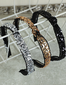 Fashion Gold Color Color Alloy Lace Sequins Knotted Headband