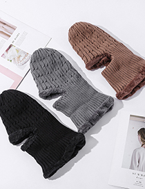 Fashion Caramel Colour Fleece Bib One-piece Knitted Hat With Ear Protection