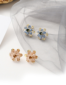 Fashion Pink Crystal Camellia Alloy Earrings