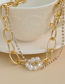 Fashion Golden Alloy Chain Pearl And Diamond Double Necklace