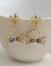 Fashion Purple Alloy Diamond Pearl Bow Earrings