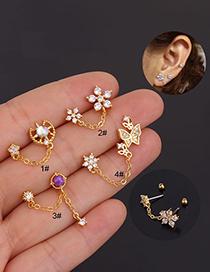 Fashion 4#rose Gold Flower Geometry Inlaid Zircon Stainless Steel Screw Double Pierced Earrings