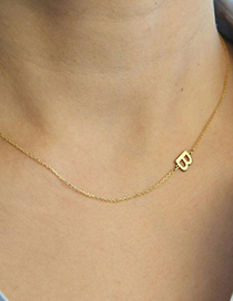 Fashion B-gold Stainless Steel Letter Hollow Necklace