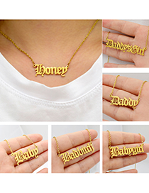 Fashion Brat-steel Color Letter Stainless Steel Hollow Necklace