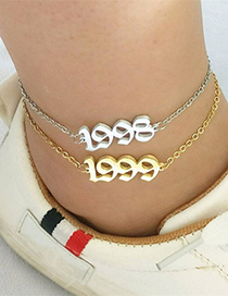 Fashion Steel Color 1988 Digital Year Stainless Steel Hollow Anklet