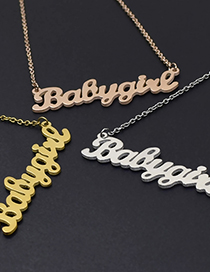 Fashion Necklace-gold Color Letter Stainless Steel Hollow Earrings Necklace