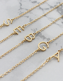 Fashion Golden Color A Letter Alloy Hollow Thin Chain Necklace