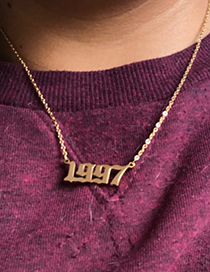 Fashion 2019-gold Color Stainless Steel Plating Year Number Necklace