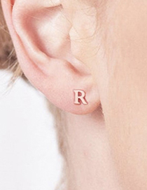 Fashion Steel Color Z Stainless Steel Small Letter Hollow Earrings