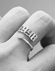 Fashion 2005 Steel Color Love Heart Stainless Steel Digital Hollow Open Ring