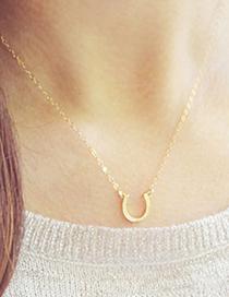 Fashion Gold Color Horseshoe U Shaped Alloy Pendant Necklace