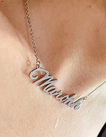 Fashion Steel Color Ab-kaylee Letter Pendant Stainless Steel Hollow Necklace