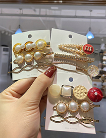 Fashion Letter Pearl And Diamond Hollow Geometric Shaped Alloy Hairpin Set