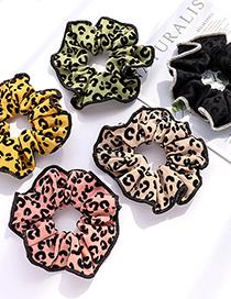 Fashion Black Large Intestine Folds Fabric Pleated Print Large Intestine Loop Hair Rope