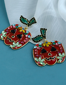 Fashion Red Alloy Diamond Pumpkin Stud Earrings