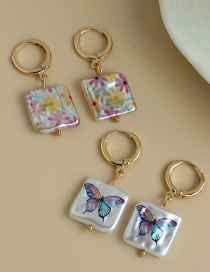 Fashion Butterfly Alloy Irregular Face Square Pearl Print Earrings