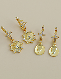 Fashion Gold Color Circle Copper Inlaid Zircon Cross Round Earrings