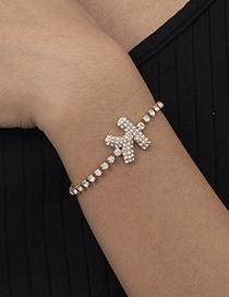 Fashion Gold Color A Alloy Letter Bracelet With Micro Diamonds