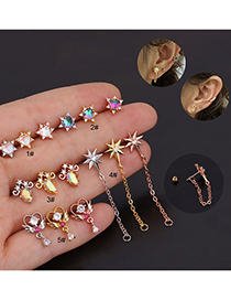 Fashion Rose Gold 5# Stainless Steel Threaded Geometric Earrings With Zircon Flowers