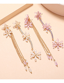Fashion White Pearl Tassel Flower Diamond Alloy Earrings
