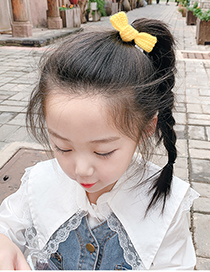 Fashion Light Pink Knitted Yarn Bow Children Hair Rope