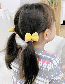 Fashion Yellow Bowknot Fabric Childrens Hair Rope