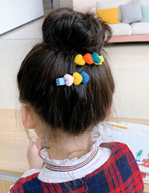 Fashion 1 Pink And Yellow Love Hair Clip Plush Love Contrast Color Alloy Childrens Hairpin