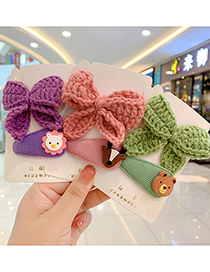 Fashion Blue Bow + Bunny Hairpin Woolen Bowknot Resin Animal Hairpin Set For Children