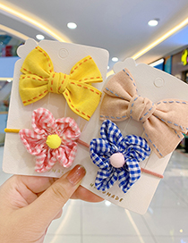 Fashion Pink Bow Hairpin + Blue Flower Hair Rope Childrens Hair Rope Hairpin With Flower Bow