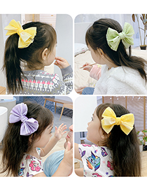 Fashion Pink Bow Fabric Butterfly Combined With Gold Childrens Hairpin