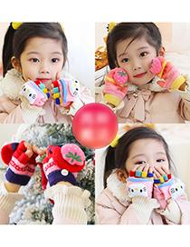 Fashion Pink Strawberry [0-4 Years Old] Five-finger Flip Half-finger Fruit Animal Geometric Children Gloves