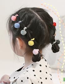 Fashion Colored Fur Ball【single Ball】 Plush Ball Hit Color Childrens Hair Rope Set