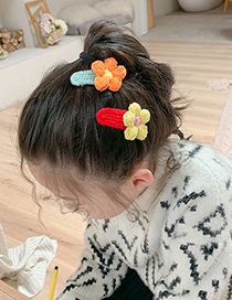Fashion Yellow Flowers + Orange Flowers [2-piece Set] Wool Flower Knitted Hit Color Hairpin