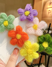 Fashion Dark Green Flowers Wool Flower Knitted Hit Color Childrens Hairpin