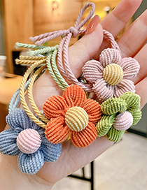 Fashion Blue Flowers-hair Rope Flower Contrast Color Fabric Knotted Childrens Hair Rope