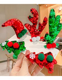 Fashion Red Horns [1 Pair] Three-dimensional Christmas Antlers Christmas Tree Sequins Childrens Hairpin