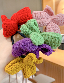Fashion Yellow Knitted Childrens Hair Rope With Woolen Bow