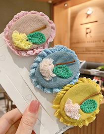 Fashion Blue Knitted Flower Geometric Shape Childrens Hairpin