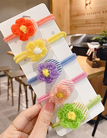 Fashion Flower Hair Rope [yellow] Knotted Childrens Hair Rope With Flower Woolen Yarn