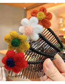 Fashion Yellow Flower Insert Comb Knitted Wool Flower And Fruit Comb For Children