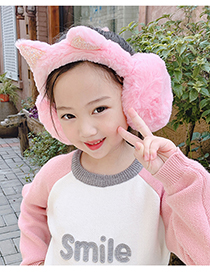 Fashion Beige Earmuffs Cat Ears Plus Plush Thick Plush Childrens Earmuffs