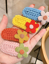 Fashion Yellow Flowers Knitted Woolen Flower Hairpin For Children