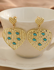 Fashion Gold Color Alloy Hollow Striped Love Earrings