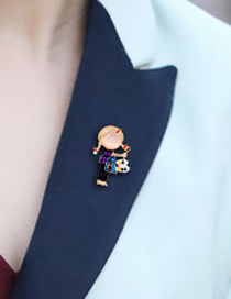 Fashion Color Alloy Drop Oil Painting Girl Brooch
